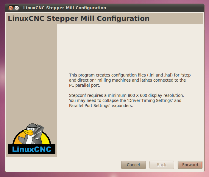 StepConf Wizard in LinuxCNC